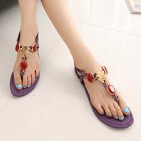 2014 Summer Princess Big Rhinestone Gem Fashion Young Girl Elastic Clip Toes Flat Sandals Free Shopping