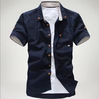 man spring 2014 small mushroom embroidery stripe bordered male shirt ,mens dress shirts