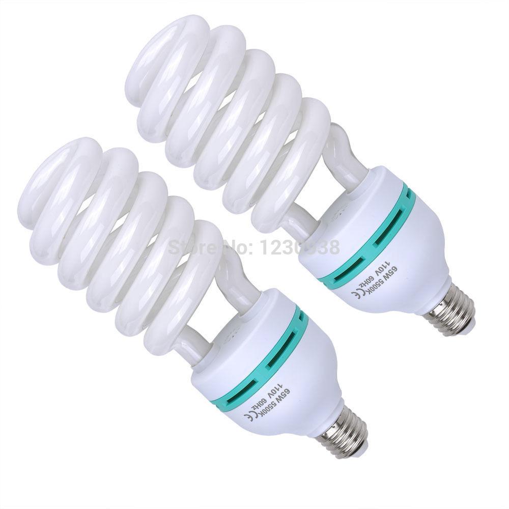 2 X 65W 5500K Photo Studio Energy Saving Day Light Bulbs Compact Fluorescent Lamp(China (Mainland))