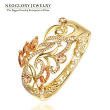 Neoglory  Rhinestone Zircon Alloy 14K Gold Plated Big Cuff Bangles & Bracelets 26 Women 2014 Vintage(China (Mainland))