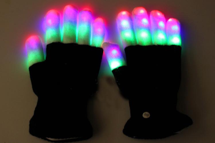 New 7 Mode LED Rave Light Finger Lighting Flashing Glove Glow Mitt DISCO Party Prom Supplies Halloween Wedding Toys New(China (Mainland))