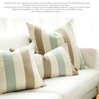 Brief fashion sofa pillow  blue khaki beige stripe cushion cover  60CM