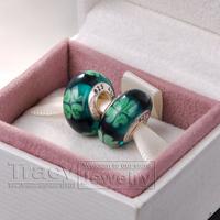 10pcs/lot Kiss me, I'm irish 925 Silver Plated Thread Murano Glass bead lampwork beads charm Bracelets Free Shipping