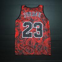 Rose Print Basketball Jersey Men/  Flower Tank Tops/ Summer Breathable Number 23 Basketball Tank Singlet