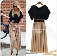 2014 New Summer Bohemian Women Chiffon Ankle-Length Long Dresses  Vest Dress Vestidos, 2 Color, S, M, L, XL,3XL,4XL