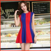 2014 summer fashion new stations  organza European and American big vertical stripes Slim tutu dresses