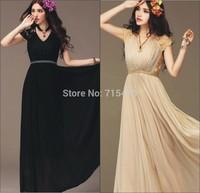 Hot Ladies Long Cocktail Party V-neck Chiffon Lace Maxi Vintage Dress