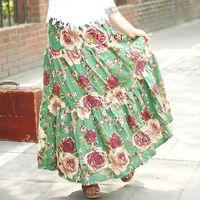 Skirts Womens Long Skirt 2014 Saias Femininas Spring New 2014 Saia Longa Female Fashion Skirt Print A-line Ankle-Length Casual