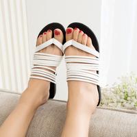 2014 New Arrival  Summer High Quality PU Flat  Women's Sandals Flip Flops Slippers Roman Beach Shoes Size 35-39 Black/White