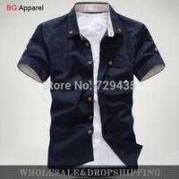 Free shipping 2014 new style Men's Fashion casual Short Sleeve Shirts high quality Summar Slim Shirts MCT001