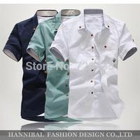 Freeshipping Hot Sale 2014 Men's Fashion Short Sleeve Shirts.Top Brand Quality Summar Slim Shirts ,With Mushroom Embroidery