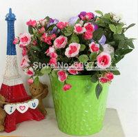 Modern 8pcs Metal Wedding Home Decor Big 13CM Artificial Flower Pots Planter Hanging Buckets Vase Colorful FL1491 decorativos
