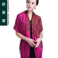 Oumeina Women's  silk scarves Colourful printing silk scarf digital spray  printed, big size square scarf   LJD-S022