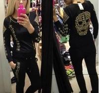 New 2014 autumn new European style rivets skull Kito Heavy Slim leisure suit fashion sets women ,free shipping , S-XXL