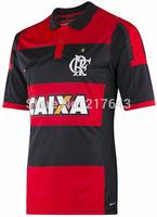 New 14/15 Flamengo home Red Black Soccer Jersey 2014/15 Hernane Lucas Mugni Alecsandro Marcio Araujo Feijao Cheap Soccer Uniform