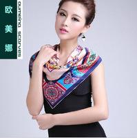 Oumeina Women's  silk Square scarves  silk satin digital printed big size square scarf   LJD-S023