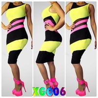 XG006-DHL fast free Ship~ women new lace mesh patchwork color block dress yellow black pink maxi club party summer lady dresses