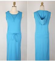 Korean Women 2014 Summer new Fashion Solid Color Hooded Drawstring Waist O-Neck Sleeveless Dress.