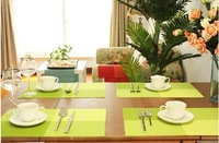 """6PCS Free Shipping Green Colorful Adiabatic Table Protector Mat PVC Dining Strip Grid Weave Placemats Slip-Resistant Pad 12""""x18"""""""