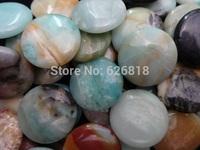 Wholesale   natural 30mm amazonite flat rpund  original beads colorful stone