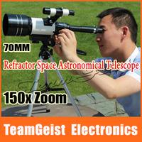 Big 150X Zoom Refractor Telescope 300/ 70mm Monocular Telescope Observing moon Space galaxies Spotting Scope + Night vision LENS
