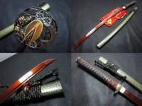 battle ready japanese red katana plum blossom tsuba 9260 spring steel shaprened sword