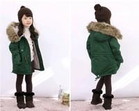 Children 's Clothing New 2014 Winter Coat Lapel Jacket  Plus Thick Velvet