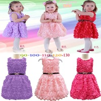 Retail 2014 new sleeveless Waist Rose Dress Girls  Flower Princess  Formal Dress kids&baby dress Y205198