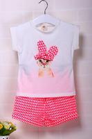 2014 summer new arrival children cute cartoon rabbit two piece girl clothing set W30007