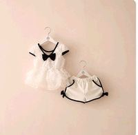 2014 High Quality White Lace Bowknot Child Lovely Girl Princess Shorts Clothes Set