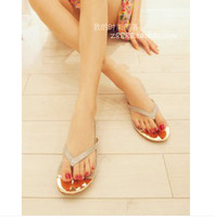 Free Shopping 2014 Summer the Soft Surface Gitter Glitter Sequined Flip Flops Sandals Flat Sandals Slippers