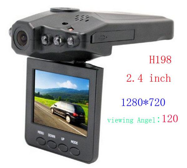 "HOT!Wholesale 30 pcs/lot 2.4""Color LCD 6 IR LED HD H198 Car DVR Camera Recorder Free shipping by DHL 1280*720(China (Mainland))"