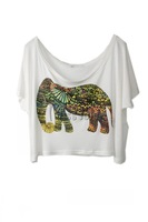 Ms cherry 2014 women's summer  loose plus size T shirt  fashion elephent short Tee