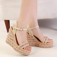 New Arrival 2014 Women's Fashion Wedge Heel Colorful Weave Sandals Women's Shoes For Summer X246