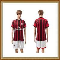 14/15 AC Milan Home Red Soccer Uniform,High Quality Embroidery Logo AC Milan Home Soccer Shirt with short+Free Shipping