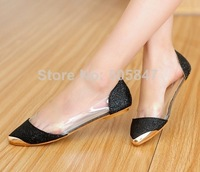 Free delivery metal point sparkling clear pointed Flats Shoes mix Hepburn wind to Europe and the United States