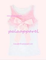 Baby girls pettitop chiffon ribbon light pink kids girls cotton t shirt summer