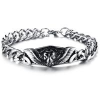 Newest personalized fashion jewelry black wings steel bracelet bangle for men titanium steel N688