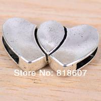 Magnetic Clasps Lots 5 Set Double Love Heart Bracelet End Tibetan Silver Tone Finding
