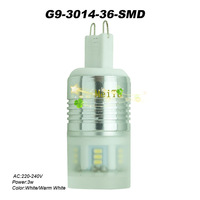 5pcs G9 3W White/Warm White 3014 SMD 36 LED Corn Light Chandelier Bulb Lamp AC 220V-240V