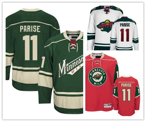 Venta caliente baratos de minnesota 11 zach parise parise jersey verde camisetas de hockey bajo precio parise blanco camisetas/rojo