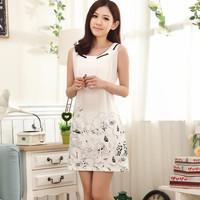 New 2014 women fashion casual dress Female nightgown summer short-sleeve small yards cotton spaghetti strap gown sleepwear