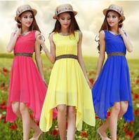 2014 new spring fashion ladies solid color sleeveless summer dress irregular round neck chiffon dress Casual Dress S-XL