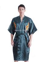 2014 New Mens Bathrobe Satin Robe Dragon Kimono Sleepwear Pajama Gown Green