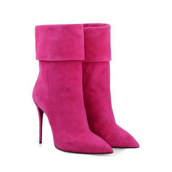 Pink Heel Boots - Qu Heel