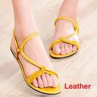 Genuine Nubuck Leather Candy Color Ankle Strap Women Flat Sandals Sandalias Femininas Size 39 Summer Shoes Girls Footwear Hot