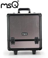 MSQ The metallic color stripe tie super capacity makeup box Multilayers Comestic Tool Case
