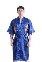 New Arrival Mens Satin Bathrobe Robe Dragon Kimono Sleepwear Pajama Gown