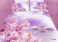 800TC pure cotton 3D white swan animal+pink sakura print queen size boho comforter bedding sets blanket bed linen roupa de cama