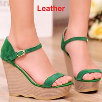 Branded Designer Genuine Leather Wedges High Heel Sandals Sapatilhas Femininos 2014 Women Sandal Green Black Platform Shoe